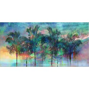 'Palmae Reflections Top' Graphic Art on Wrapped Canvas by Beachcrest Home