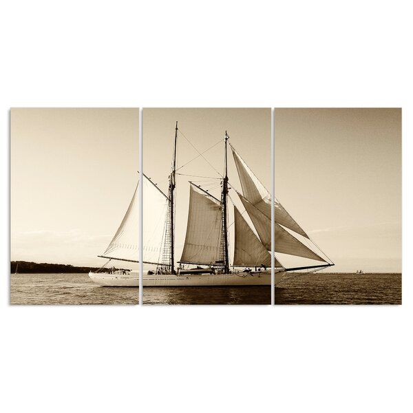 Yacht in Sepia Triptych 3 Piece Photographic Print Wall Plaque Set by Stupell Industries