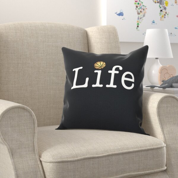 Bauer and Ball Word Outdoor Throw Pillow by Zoomie Kids