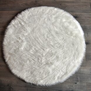 Faux Fur White Area Rug