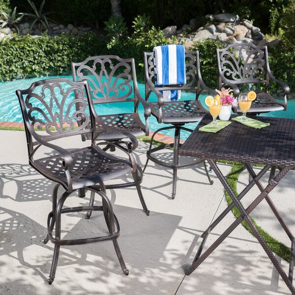 Brownridge Outdoor Cast Aluminum Patio Bar Stools (Set of 4) by Fleur De Lis Living