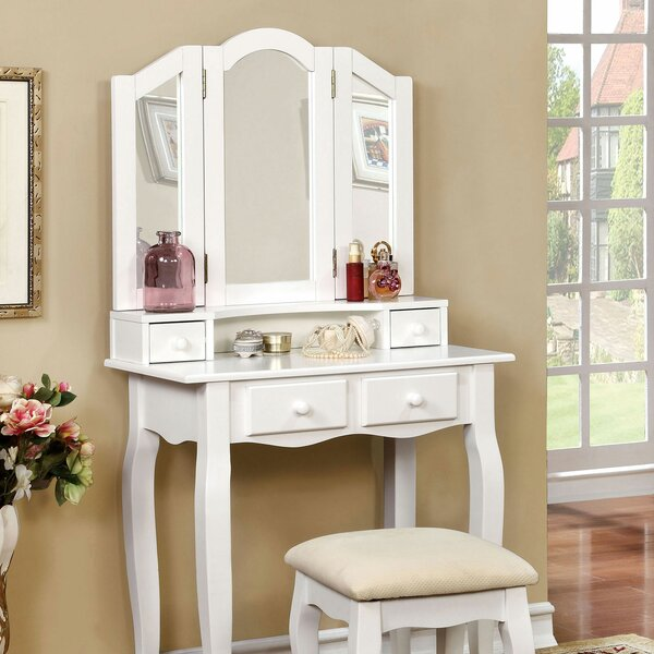 Schindler Vanity Set with Mirror by House of Hampton