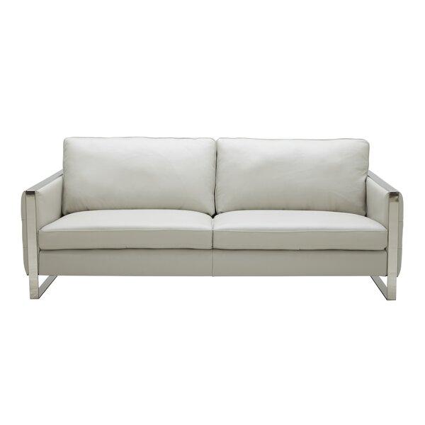Hewins Leather Sofa by Orren Ellis
