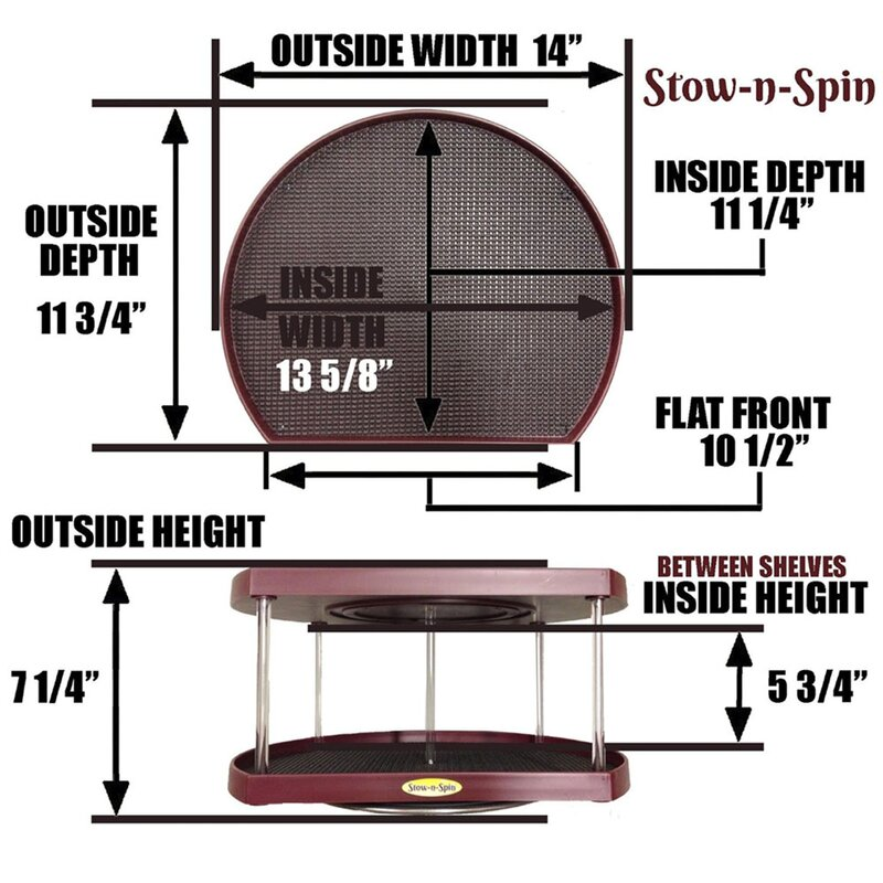 Stow N Spin Two Tier Turntable Lazy Susan Spice Rack