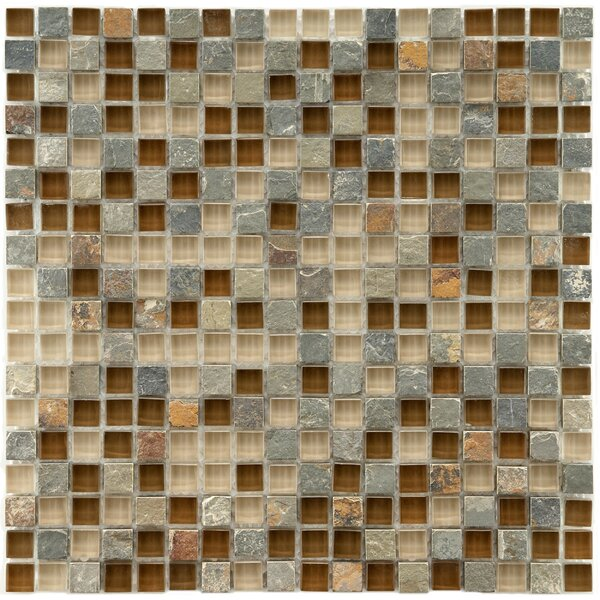 Sierra 0.58 x 0.58 Glass and Natural Stone Mosaic Tile in Brown by EliteTile