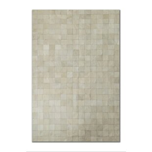 Reviews Aayush Four Square Patch Hand-Woven Cowhide Off White Area Rug By17 Stories