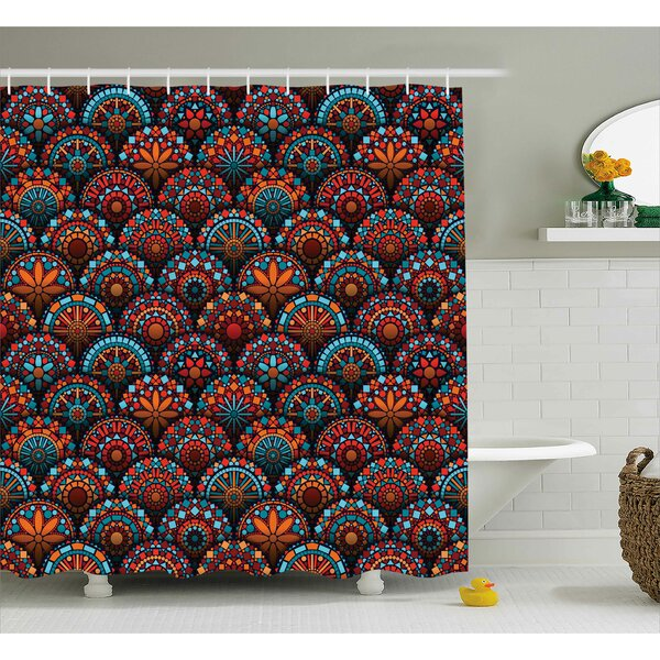 Audington Geometric Floral Forms Shower Curtain by Bloomsbury Market