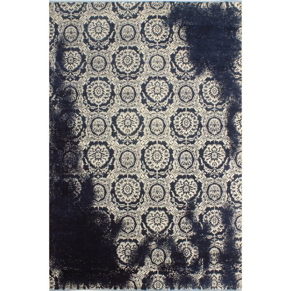 One-of-a-Kind Fergus Abstract Hand Knotted Wool Ivory/Navy Area Rug by Isabelline