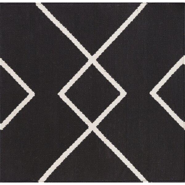 Smyth Hand Woven Cotton Black/White Area Rug by Mercury Row