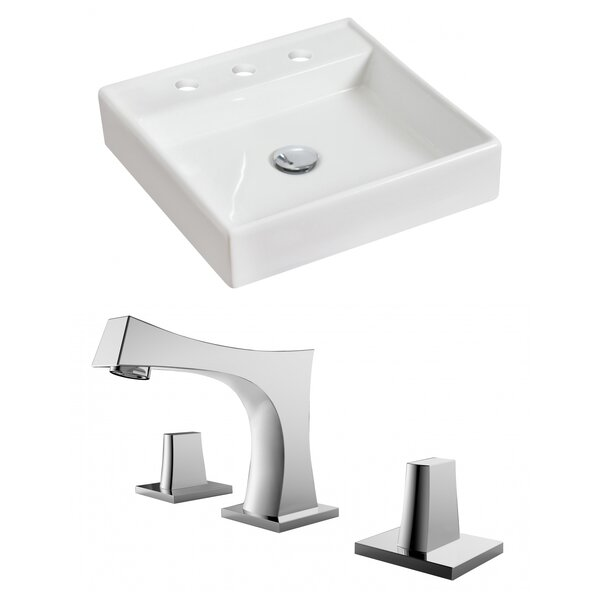 Ceramic Square Vessel Bathroom Sink with Faucet and Overflow by Royal Purple Bath Kitchen