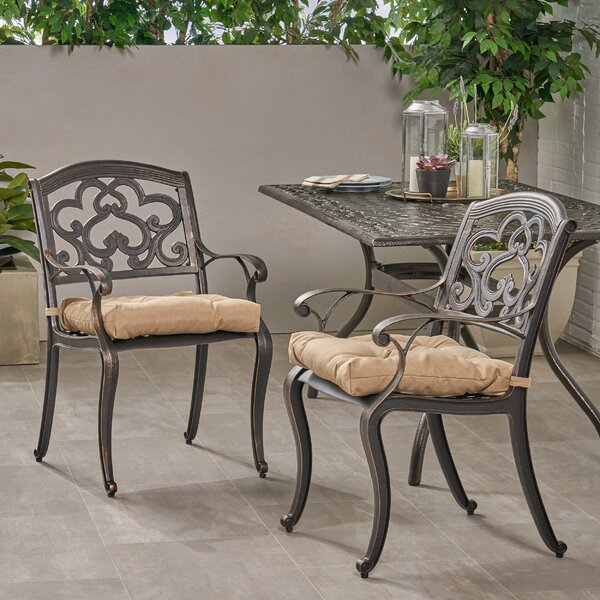 Pirtle Patio Dining Chair with Cushion (Set of 2) by Fleur De Lis Living Fleur De Lis Living