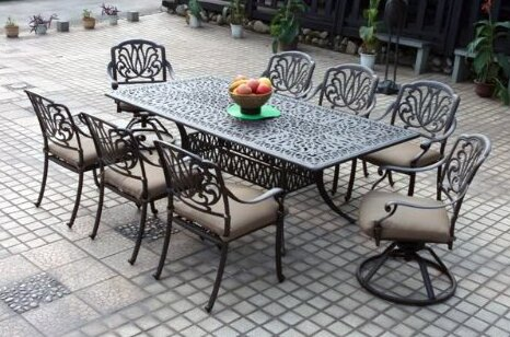 Lebanon Swivel Patio Dining Chair with Cushion (Set of 2) by Three Posts