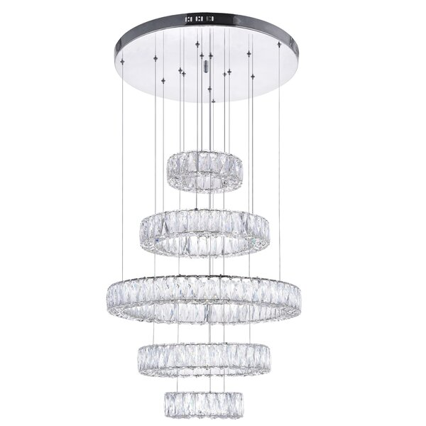 5 - Light Unique / Statement Wagon Wheel LED Chandelier By CWI Lighting