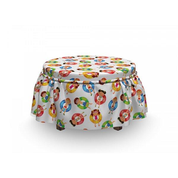 Summer Children In Pool Summer 2 Piece Box Cushion Ottoman Slipcover Set By East Urban Home