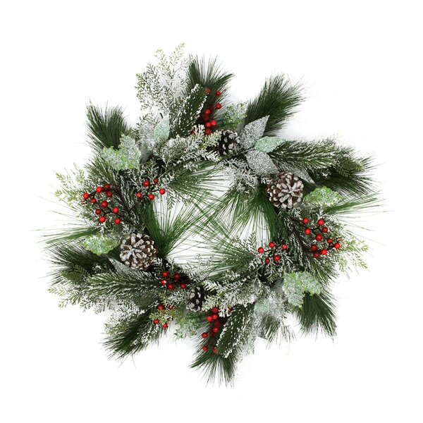 Frosted Two-Tone Cedar and Long Needle Pine Berry Artificial Christmas Wreath by Northlight Seasonal