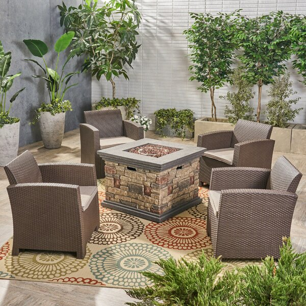 Cervantes Outdoor 5 Piece Wicker Print Sofa Seating Group with Cushions by Alcott Hill