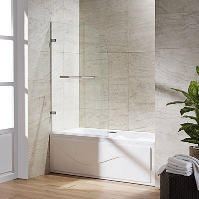 "VIGO Orion 34"" W x 58"" H Hinged Frameless Tub Door Finish: Chrome"