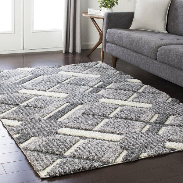 Marketfield Soft Plaid Shag Gray Area Rug by Wrought Studio