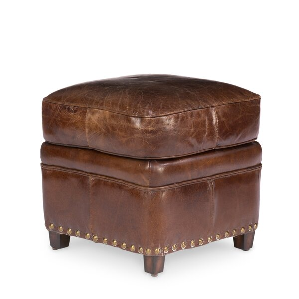 Dorman Leather Ottoman by Alcott Hill