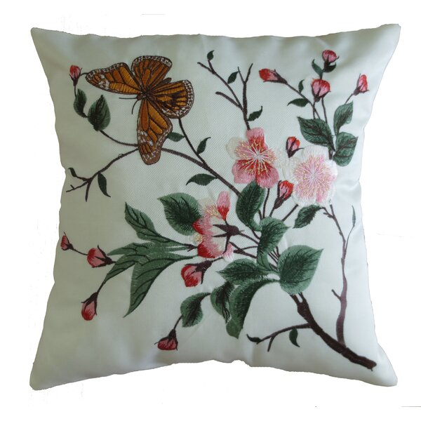 Mante Carlo Decorative Embroidered Butterfly Design Fine Burlap Throw Pillow by Violet Linen