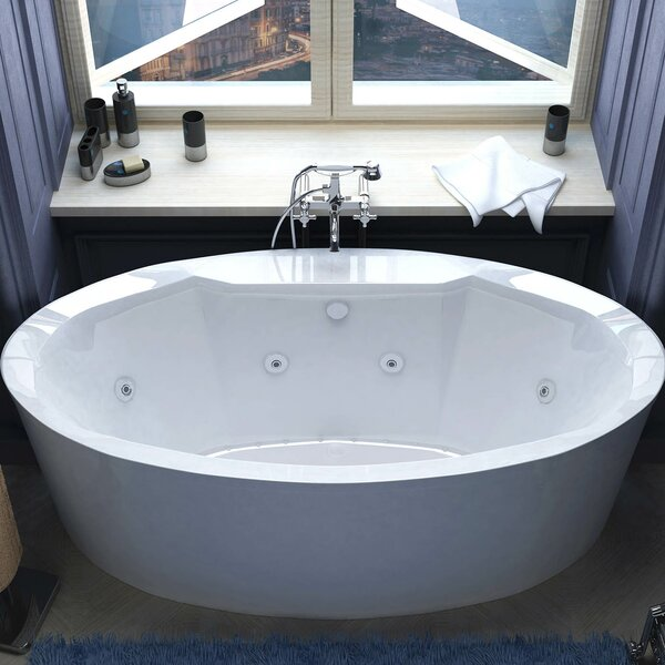 Salina 67.18 x 33.43 Oval Air & Whirlpool Water Jetted Bathtub by Spa Escapes