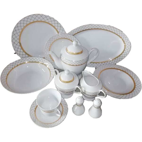 Joselyn Gold Net Design 49 Piece Dinnerware Set, Service for 8 by Rosdorf Park