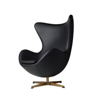 Oliviana Leather Swivel Lounge Chair by Orren Ellis