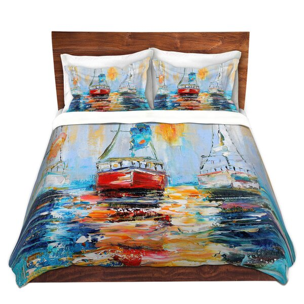 Harbor Boats Sunrise Duvet Cover Set