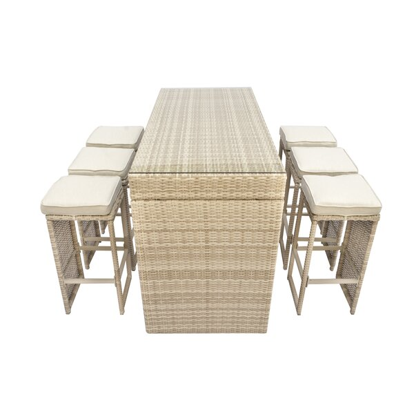 Brinkley 7 Piece Bar Height Dining Set with Cushions by Willa Arlo Interiors