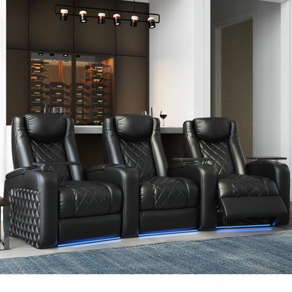 Azure HR Series Curved Home Theater Recliner (Row Of 3) By Red Barrel Studio
