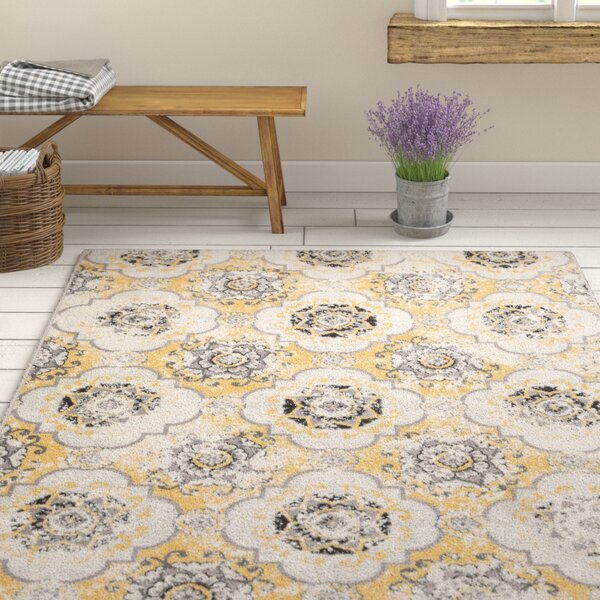 Raquel Yellow/Brown Area Rug by Ophelia & Co.