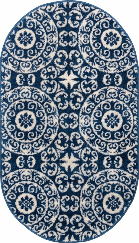 Giles Petra Palatial Navy Blue/White Area Rug
