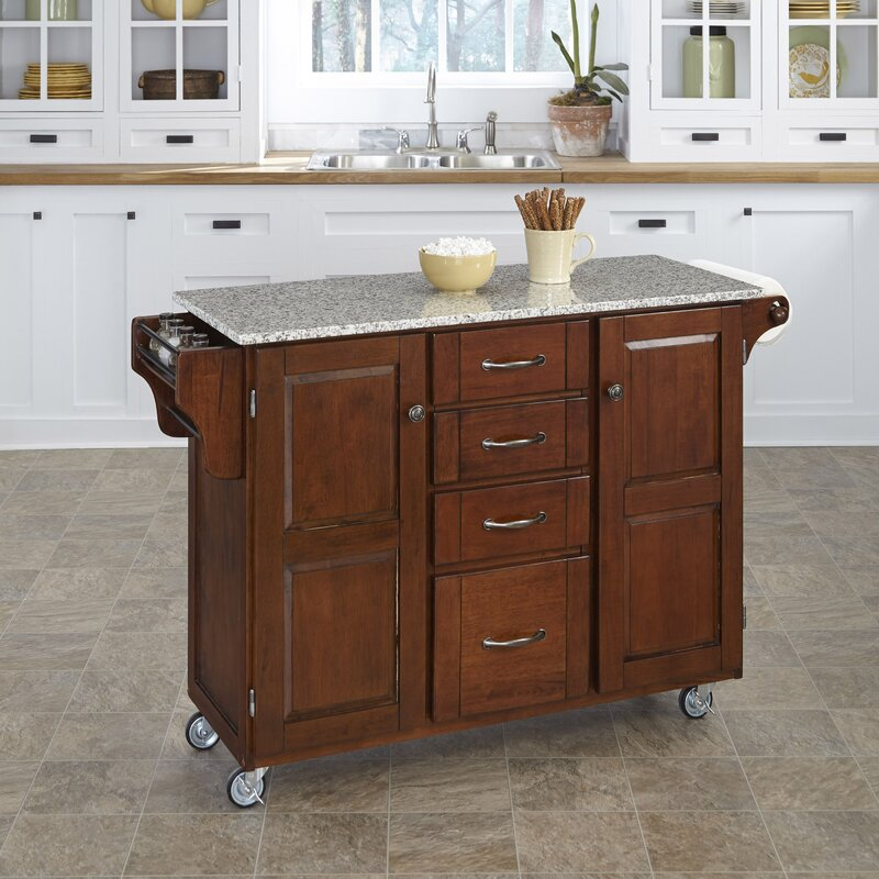 August Grove Adelle-a-Cart Kitchen Island with Granite Top ...