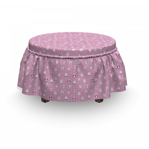 Funny Animals Pink Ottoman Slipcover (Set Of 2) By East Urban Home