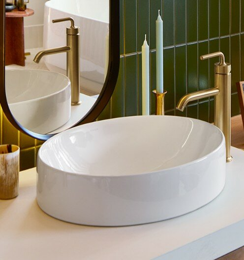 Vox Vitreous China Oval Vessel Bathroom Sink with Overflow by Kohler