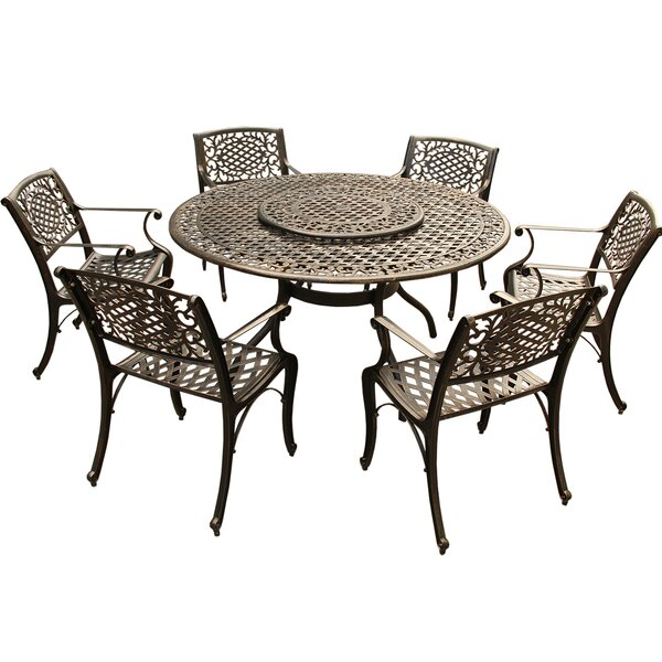 Casner Ornate Traditional Mesh Lattice 7 Piece Dining Set by Fleur De Lis Living