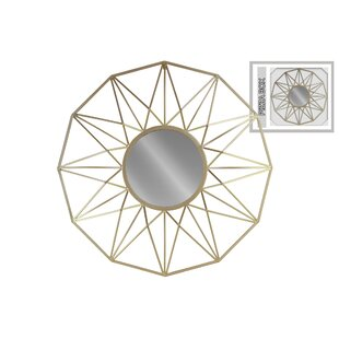 Brayden Studio Stenson Round Metal Wall Mirror with Starburst Design Frame