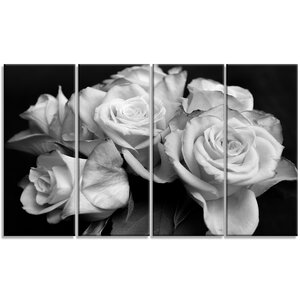 'Bunch of Roses Black and White' 4 Piece Wall Art on Wrapped Canvas Set by Design Art