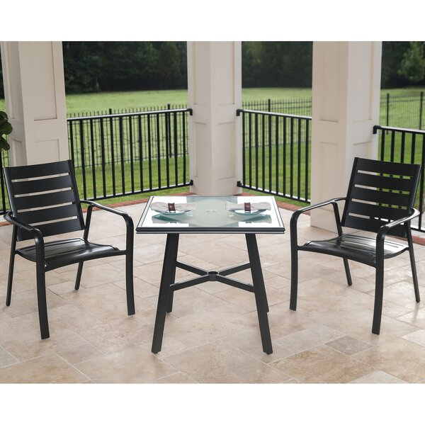 Colson 3-Piece Commercial-Grade Bistro Set with 2 Aluminum Slat-Back Dining Chairs and a 30 inch  Tempered-Glass Table by Gracie Oaks
