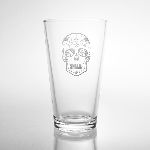 Sugar Skull Pint 16 Oz. Glass (Set of 4) by Rolf Glass
