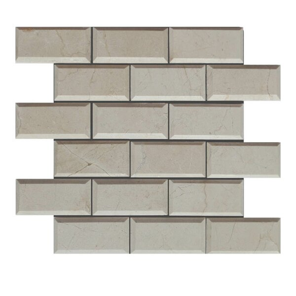 Pillow Edge Polished 2 x 4 Natural Stone Mosaic Tile in Crema Marfil by QDI Surfaces