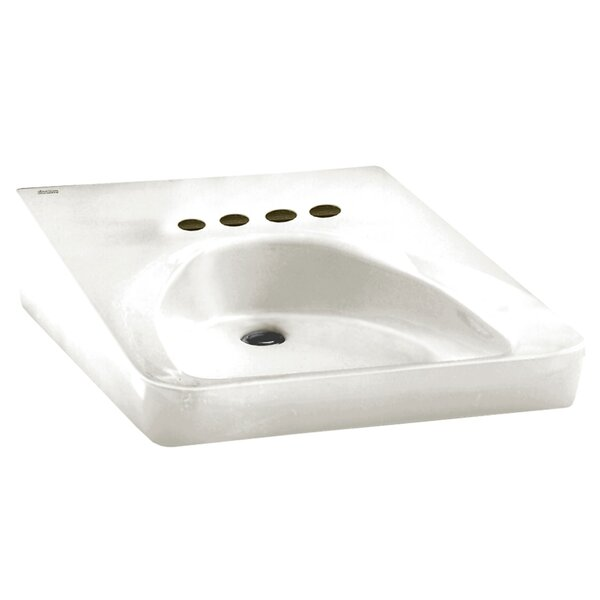 White Vitreous China Rectangular Wall Mount Bathroom Sink with Overflow