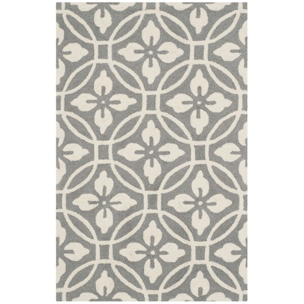 Baranof Hand-Hooked Gray/Ivory Area Rug by Red Barrel Studio