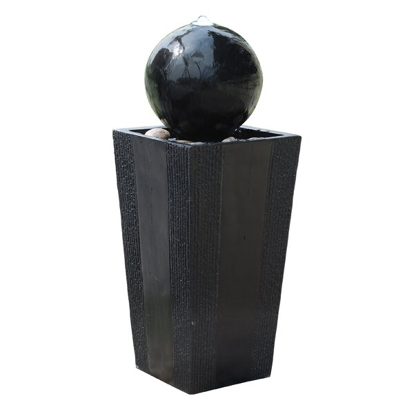 Fiberglass Ball on Stand Fountain with LED Light by Woodland Imports