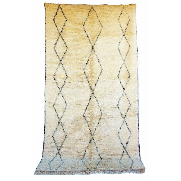 Beni Ourain Moroccan Berber Hand-Knotted Wool Ivory/Black Area Rug by Indigo&Lavender