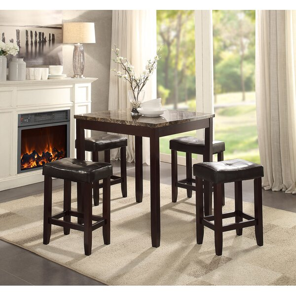 Perillo 5 Piece Counter Height Dining Set by Winston Porter