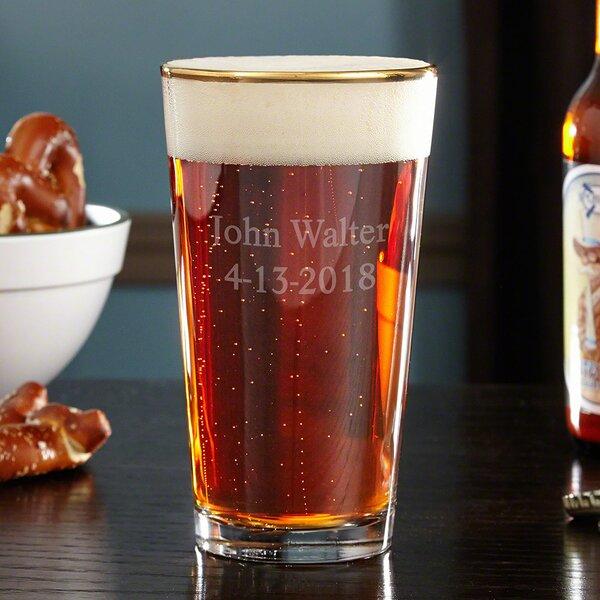The Man The Myth The Legend Gold Rim Custom 16 oz. Glass Pint Glass by Home Wet Bar