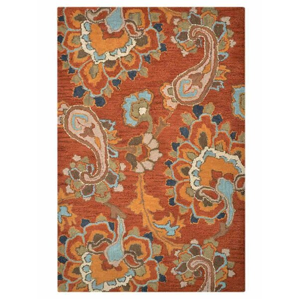 Lipsey Contemporary Hand-Tufted Wool Orange/Gray/Blue Area Rug by Red Barrel Studio