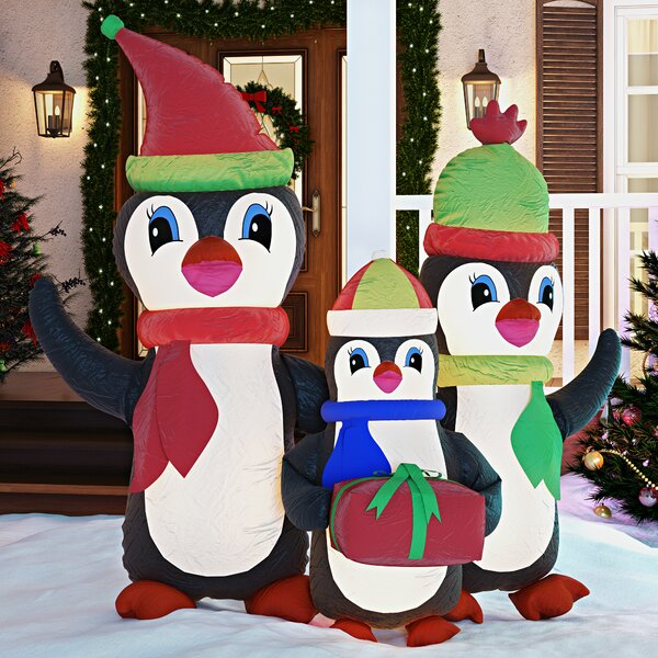 Christmas Inflatable Penguins Family with Gift by Three Posts