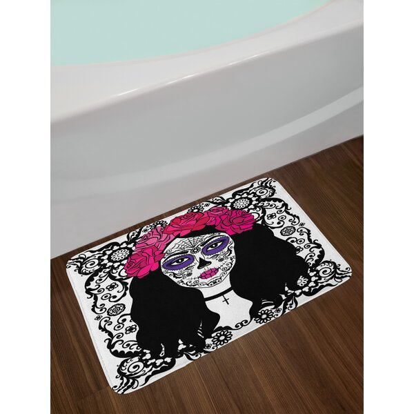 Girl Sugar Skull Bath Rug by East Urban Home